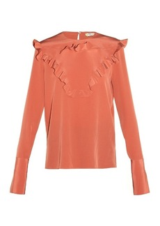 Fendi Ruffled-front crepe de Chine blouse