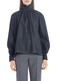 Fendi Ruffle Neck Denim Top