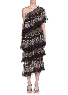 Fendi Ruffle-Tiered One-Shoulder Cocktail Dress
