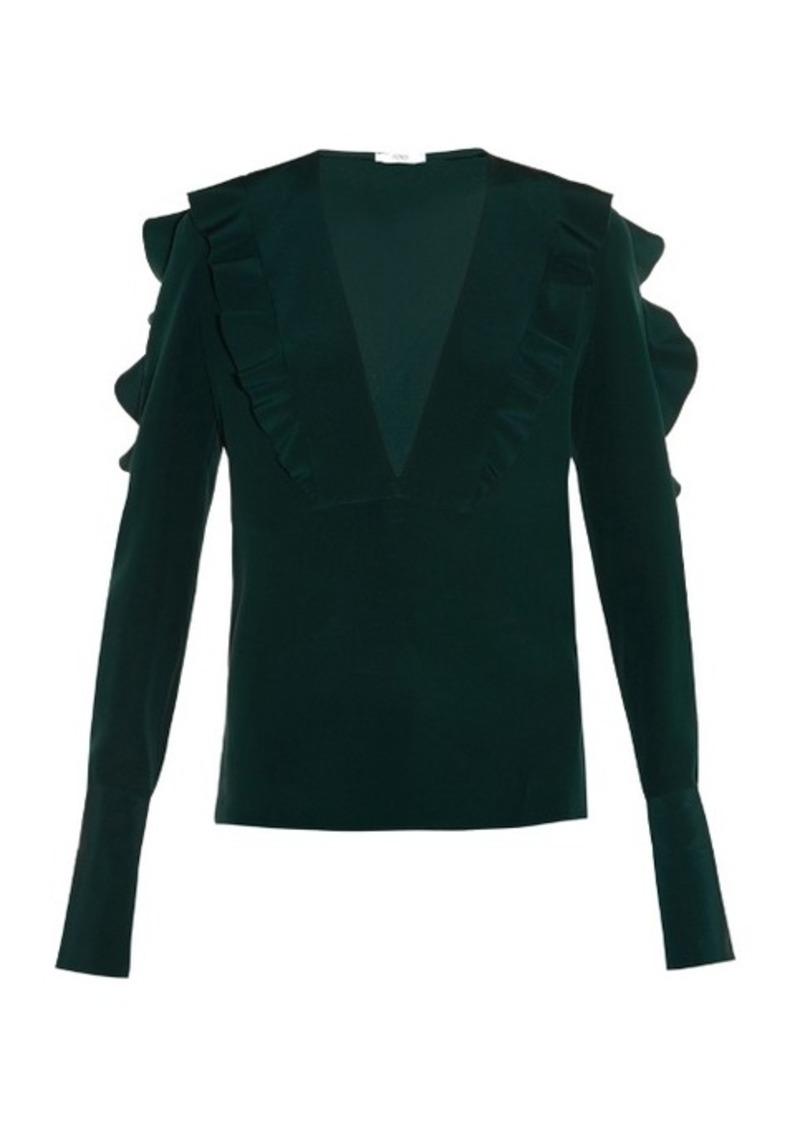 3814520bd4ca09 Fendi Fendi Ruffle-trimmed silk-crepe blouse Now  625.00