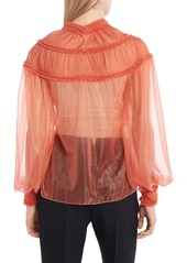 Fendi Ruffle Yoke Sheer Organza Silk Lined Blouse