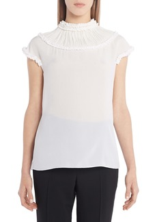 Fendi Ruffle Yoke Silk Blouse