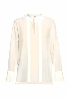 Fendi Ruffled collar silk-crepe blouse