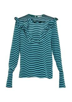 Fendi Ruffled-front striped silk-cady blouse