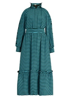 Fendi Ruffled-neck striped cady midi dress