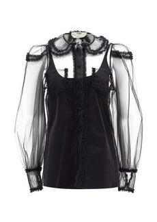 Fendi Ruffled round-collar tulle blouse