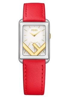 Fendi Run Away Rectangle Leather Strap Watch, 22.5mm x 32mm