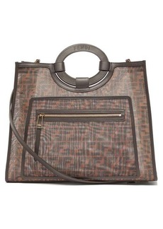 Fendi Runaway FF-print leather-trimmed mesh tote bag