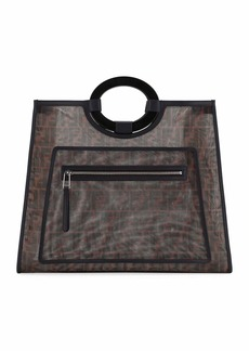 Fendi Runaway Large FF Mesh Shopping Tote Bag