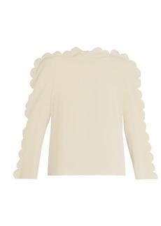 Fendi Scallop-edged crepe de Chine blouse