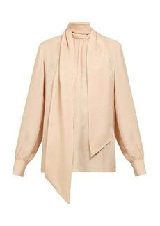 Fendi Scarf-neck satin-jacquard silk blouse