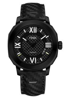Fendi Selleria Leather Strap Watch, 42mm