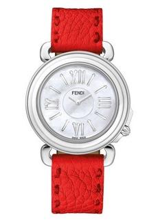 Fendi Selleria Round Watch w/ Leather Strap