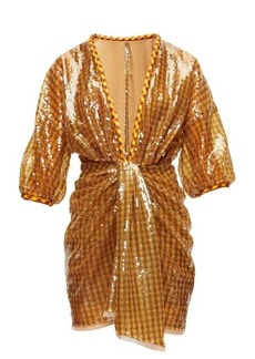 Fendi Sequinned plunge-neck mini dress