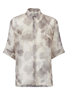 Fendi Shady Flowers Silk Organza Button-Up Shirt