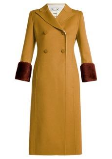 Fendi Shearling-trimmed wool coat