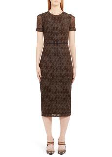 Fendi Sheer Sleeve Logo Pattern Midi Dress