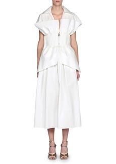 Fendi Short-Sleeve Cotton Poplin Dress w/ Bustier