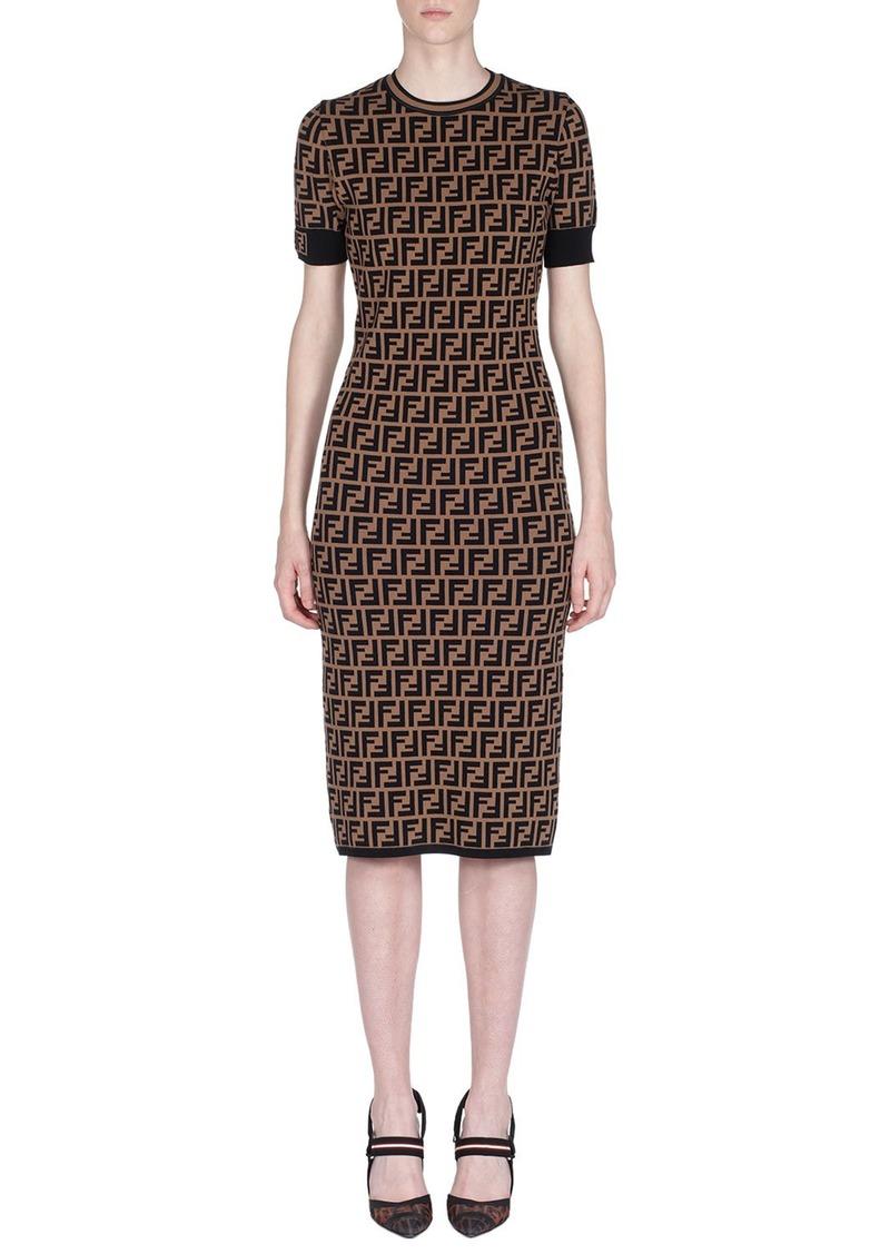 Fendi Short-Sleeve Logo Knit Midi Dress