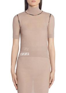 Fendi Short Sleeve Mesh Turtleneck Sweater
