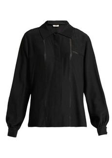 Fendi Silk-chiffon embroidered blouse