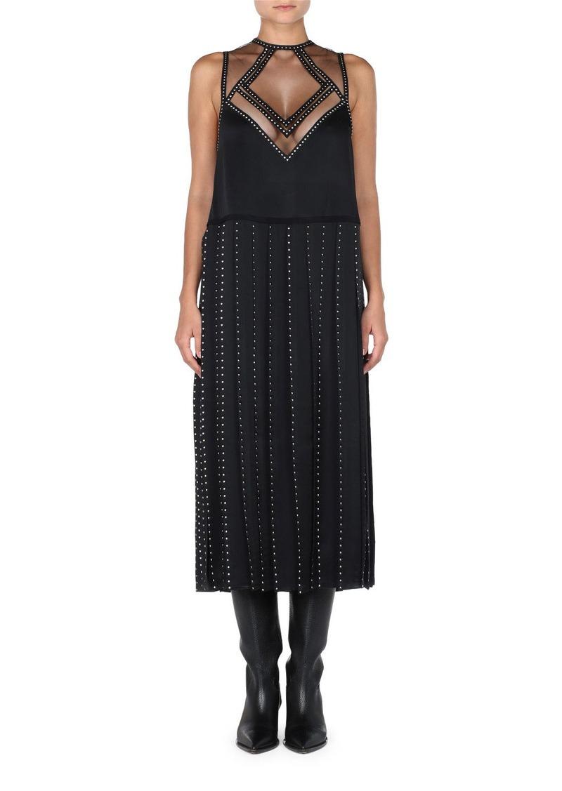 Fendi Sleeveless Studded Sheath Dress w/ Illusion Neck & Carwash Hem