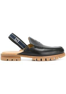 Fendi slingback strap loafers - Black