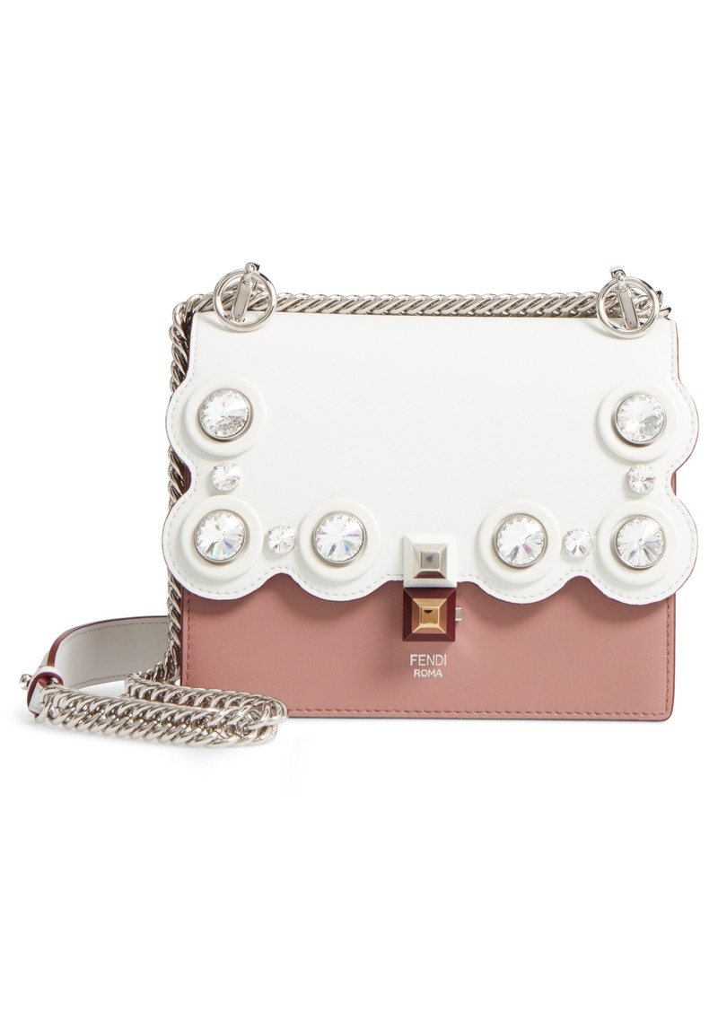 Fendi Fendi Small Kan I Crystal Stud Calfskin Shoulder Bag  0932533179a71