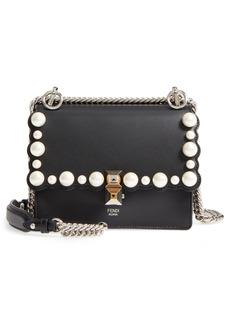 Fendi Small Kan I Imitation Pearl Stud Calfskin Shoulder Bag