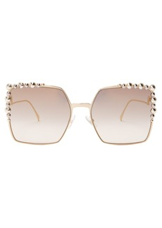 Fendi Square-frame embellished sunglasses
