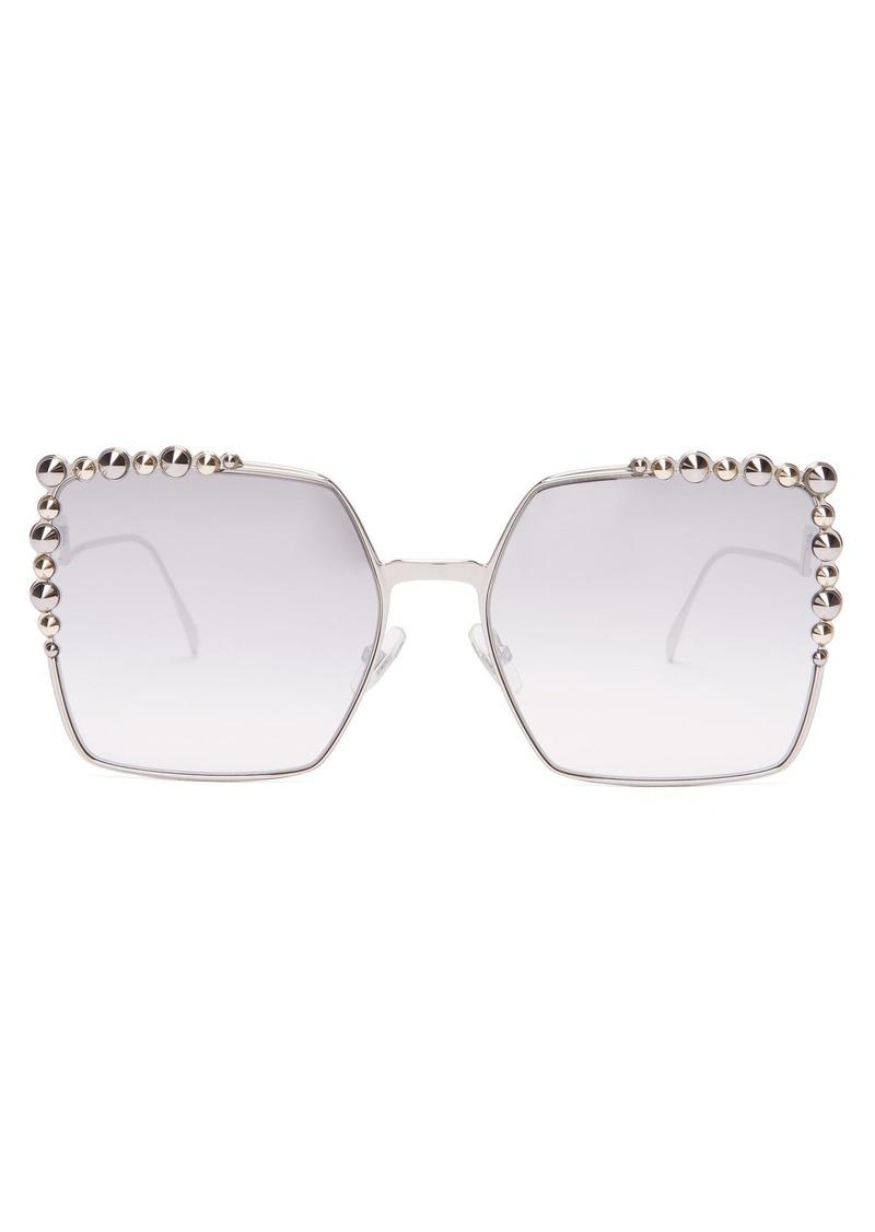 ef091886df8d0 Fendi Fendi Square-frame embellished sunglasses