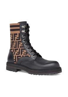Fendi Stivaletto Vitello Maglia FF Motif Lace-Up Sock Boot (Men)