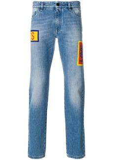 Fendi stonewashed printed jeans - Blue