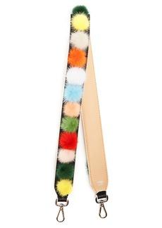 Fendi Strap You fur-pompom leather bag strap