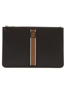 Fendi Stripe-panel leather pouch