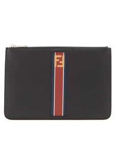 Fendi Stripe-panel leather pouch