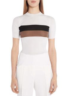 Fendi Stripe Rib Short Sleeve Silk Top