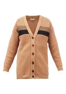 Fendi Striped chunky-knit cotton-blend cardigan