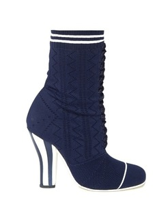 Fendi Striped-heel sock boots
