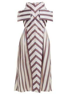 Fendi Striped off-the-shoulder silk-blend dress