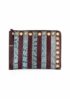 Fendi Striped Snakeskin Clutch Bag