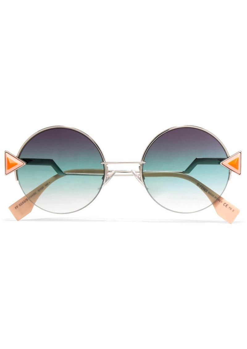 Fendi Stud-embellished palladium-tone and acetate round sunglasses