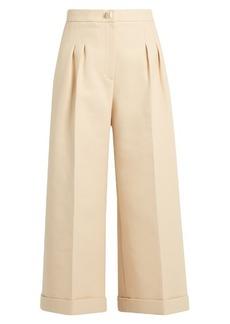Fendi Stud-embellished wide-leg cropped cotton trousers