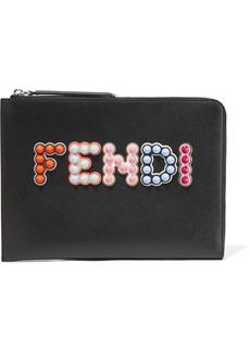 Fendi Studded appliquéd leather pouch