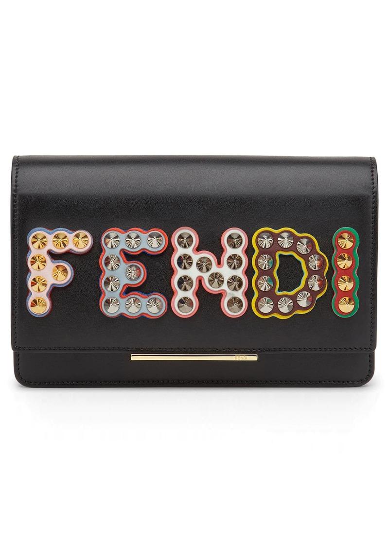 Fendi Fendi Studded Logo Leather Wallet On A Chain Handbags