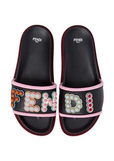 Fendi Studded Logo Slide Sandal (Women)