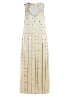 Fendi Studded pleated satin midi dress