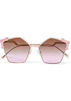 Fendi Studded Square-frame Rose Gold-tone Sunglasses