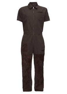 Fendi Suede-patch canvas overalls