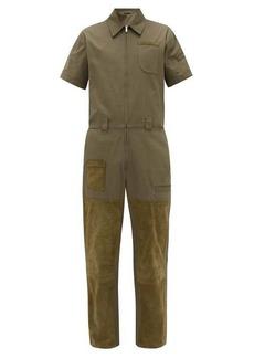 Fendi Suede-patch cotton overalls